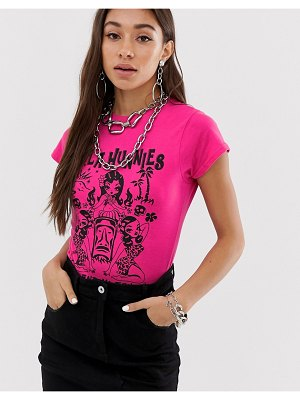 New Girl Order shrunken t-shirt with hula hunnies graphic-pink