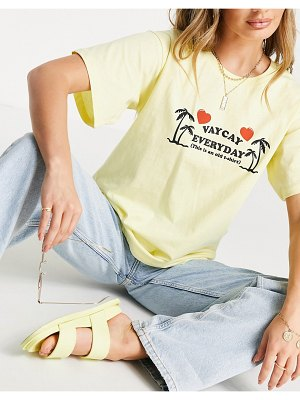 New Girl Order vaycay everyday oversized t-shirt in pastel yellow