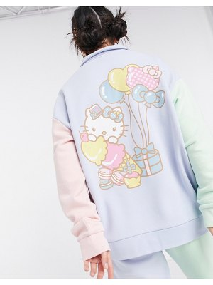 New Girl Order x hello kitty oversized polo sweatshirt in color block set-blues
