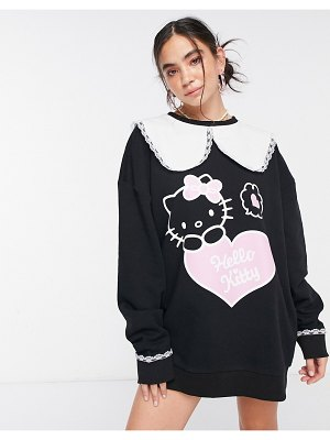 New Girl Order x hello kitty oversized sweater dress with collar-black