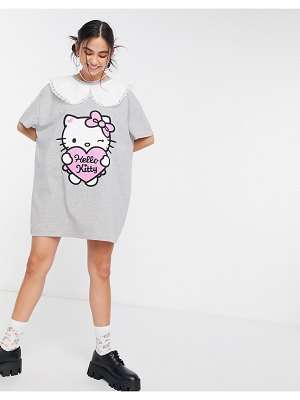 New Girl Order x hello kitty oversized t-shirt dress with contrast vintage collar-grey