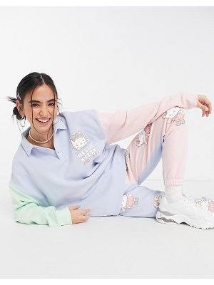 New Girl Order x hello kitty relaxed sweatpants in colorblock with seam detail set-multi