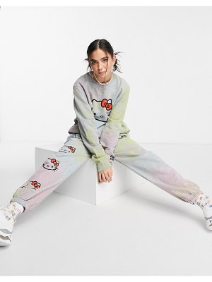 New Girl Order x hello kitty set relaxed sweatpants in rainbow dye-grey