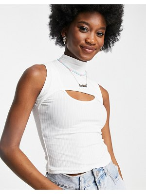 New Look 2 part cut out top in white