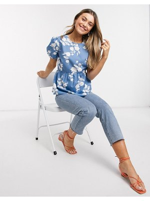 New Look babydoll puff sleeve blouse in blue floral print-multi