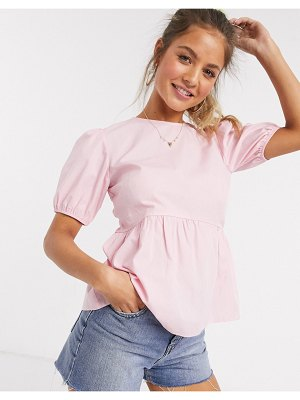 New Look babydoll puff sleeve blouse in pink