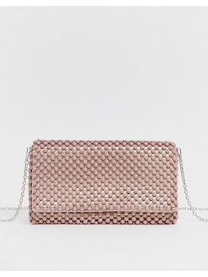 New Look beaded occasion clutch in light pink