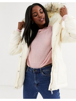 New Look belted puffer jacket in cream