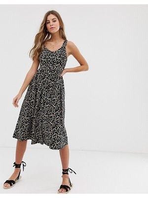 New Look button down floral dress in black pattern