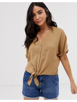 New Look button down tie front blouse in camel-tan