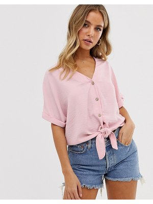 New Look button down tie front tee in pastel pink