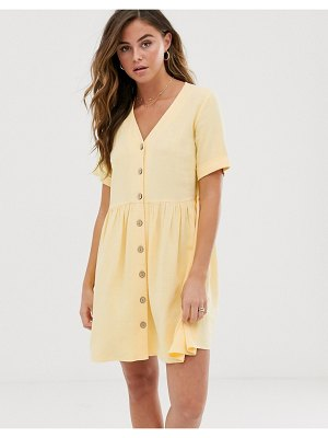 New Look button through smock dress in lemon