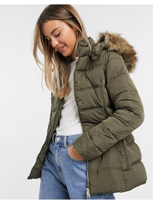 New Look fitted padded jacket in khaki-beige