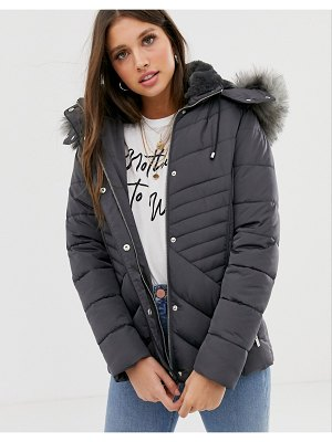 New Look fitted puffer jacket in gray