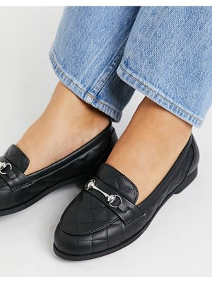 New Look flat quilted loafer in black