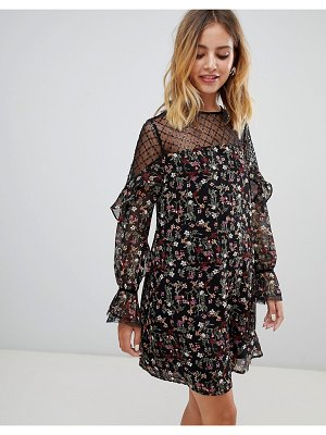 New Look floral smock dress with sheer panels