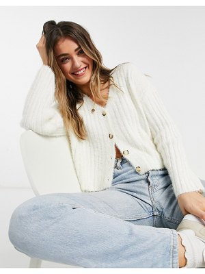 New Look fluffy knit ribbed cardigan in cream