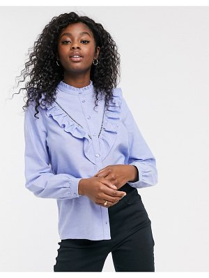 New Look frill detail shirt blouse in mid blue