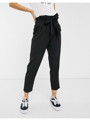 New Look high waist paperbag pants in black