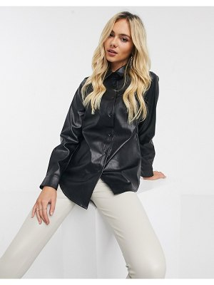 New Look leather look shirt in black