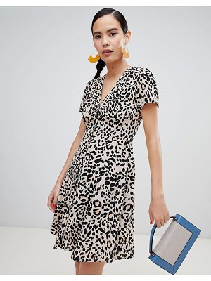 New Look leopard print button through tea dress