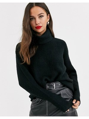 New Look long line roll neck sweater in black