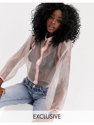 New Look organza puff sleeve long sleeve blouse in pink