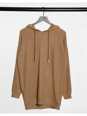 New Look oversized cozy knitted lounge hoodie in camel-tan