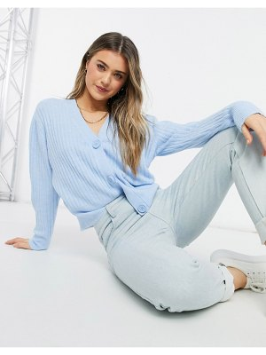 New Look ribbed button down cardigan in blue-blues