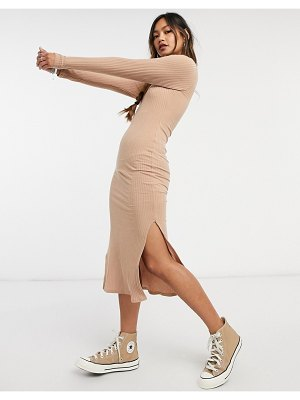 New Look ribbed turtle neck body-conscious dress in oatmeal-cream