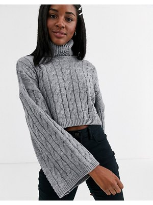 New Look roll neck wide sleeve cable sweater in gray