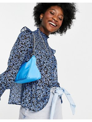 New Look shirred high neck blouse in blue floral-blues