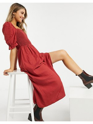 New Look shirred square neck midi dress in rust-brown