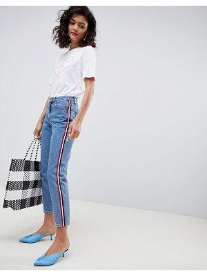 New Look side stripe mom jean