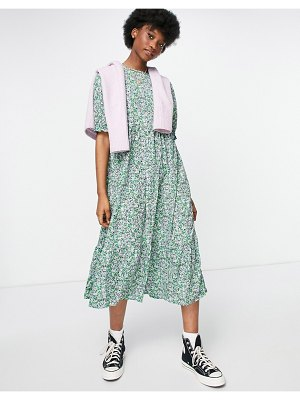 New Look smock midi dress in blue floral-blues