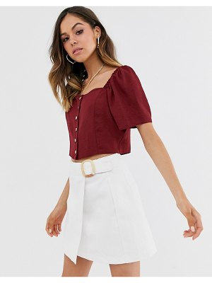 New Look square neck button down top in burgundy-navy