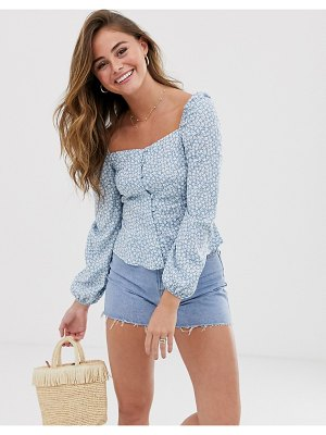 New Look square neck ditsy floral top in blue