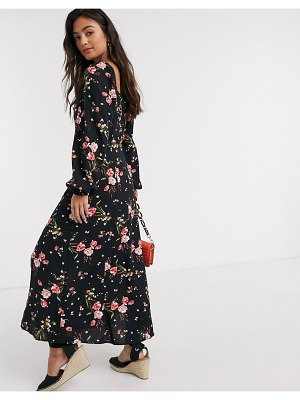 New Look square neck puff sleve midaxi dress in dark based floral-multi