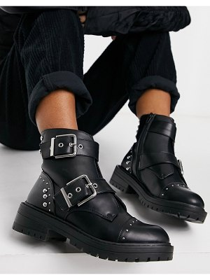 New Look studded buckle boots in black
