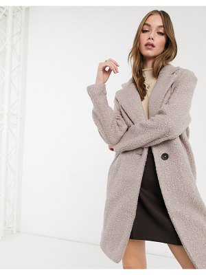 New Look teddy boucle tailored coat in mink-pink