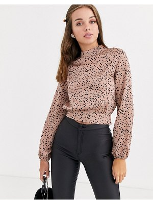 New Look tie back top in brown polka dot