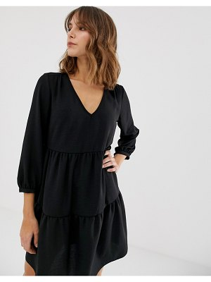New Look tiered smock dress in black