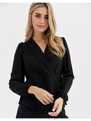 New Look twist front blouse in black