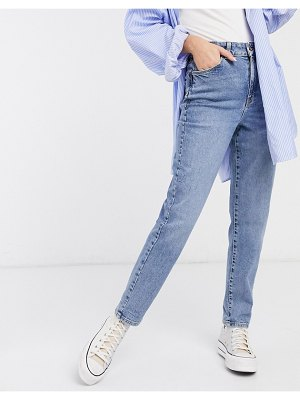 New Look waist enhance mom jeans in mid blue