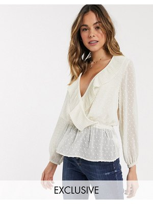 New Look wrap frill blouse in white