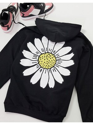 New Love Club oversized hoodie with daisy print in black