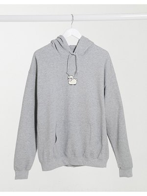 New Love Club oversized hoodie with sheep print in gray-grey