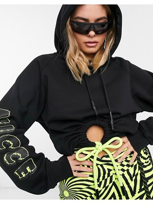 Nicce relaxed hoodie with ruched front cut out-black
