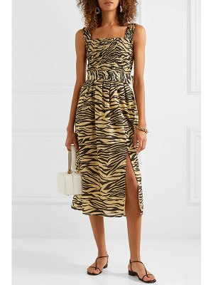 NICHOLAS belted smocked zebra-print cotton and silk-blend midi dress