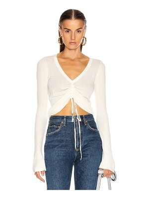 NICHOLAS compact ruched front tie top